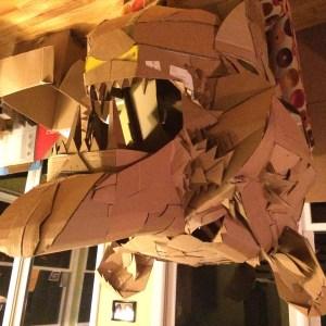 A cardboard Bear Head, of the left side built Alex Feliciano