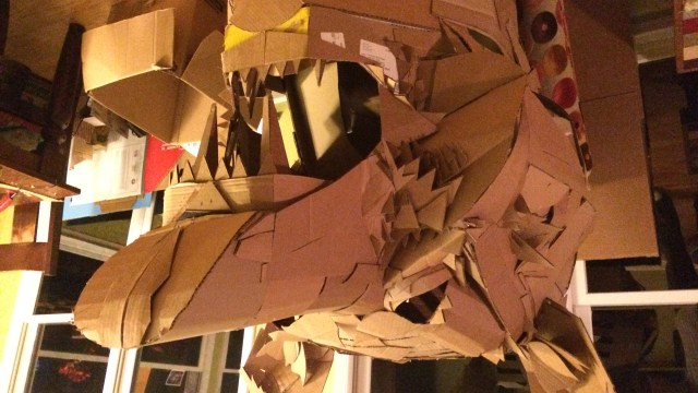 A cardboard Bear Head, of the left side built Alex Feliciano