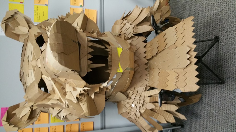 costume of a bear made out of cardboard