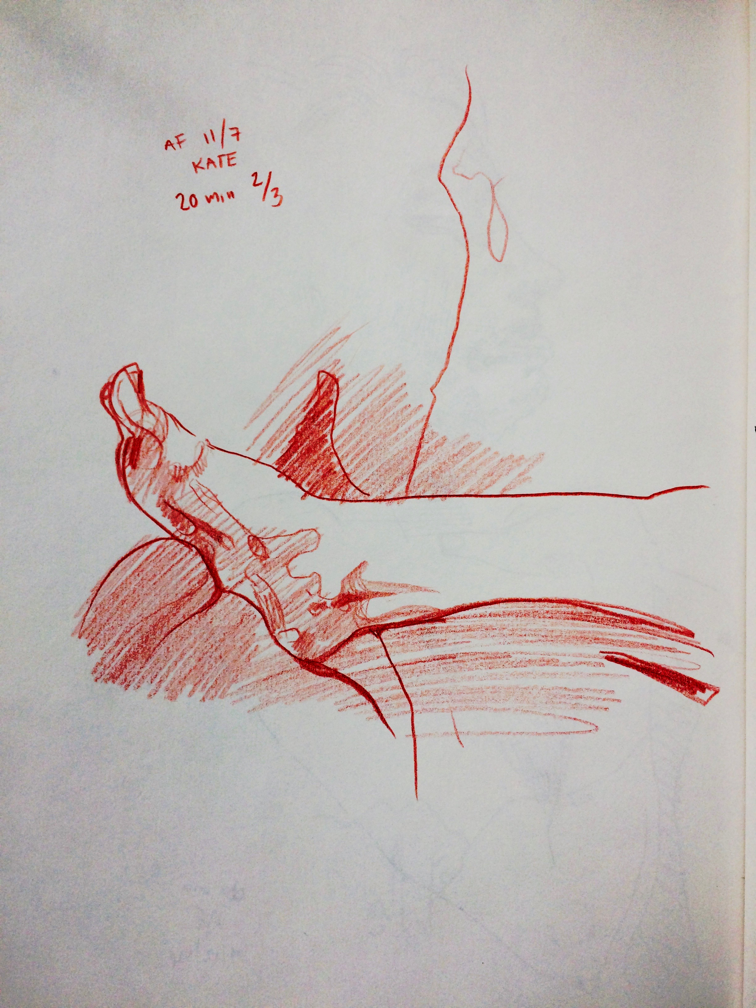 Right foot drawn in red pencil by Alex Feliciano