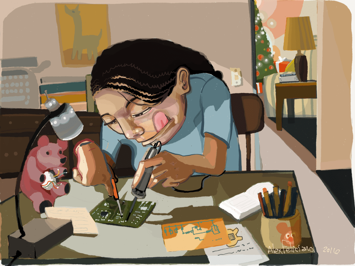 holiday card, santa's little helper, by Alex Feliciano