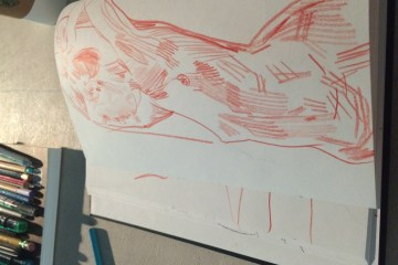 Alex Feliciano figure drawing at the drawing event