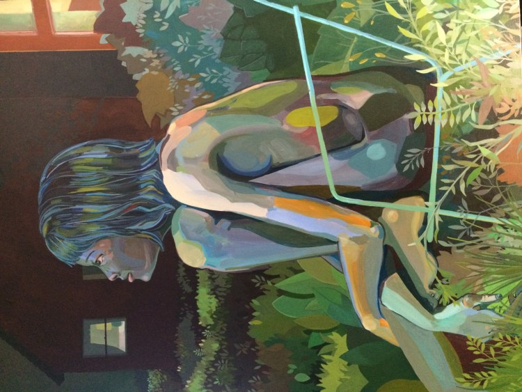 """Woman siting in a lawn chair, lite by window light. 30""""x40"""", acrylic on canvas, by alex feliciano"""