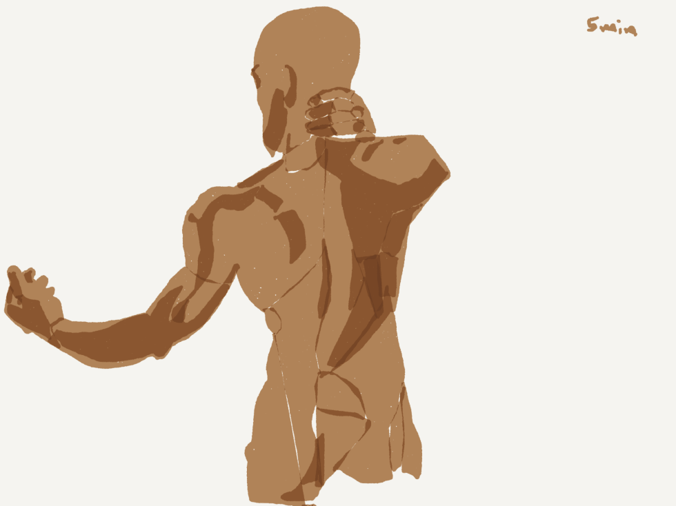 Alpharetta Drawing group, male figure, drawing on iPad with Alex Feliciano