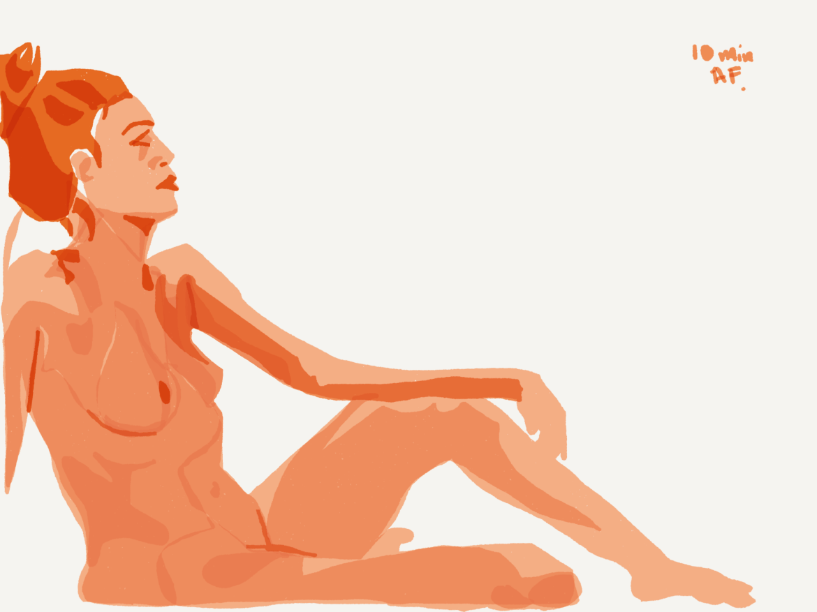 woman leaning back on one hand by Alex Feliciano
