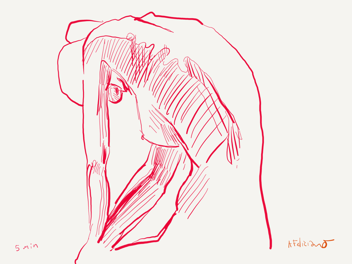 Red pen, woman hunched and resting by alex feliciano