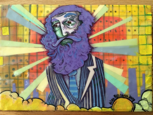 big shiny purple bearded person wearing a striped suit and wonderfully striped tie.