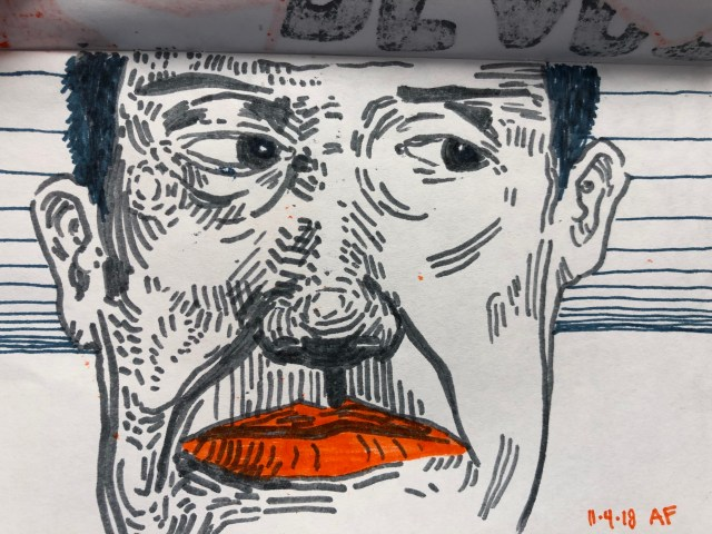 Drawing of face with orange lips by Alex Feliciano
