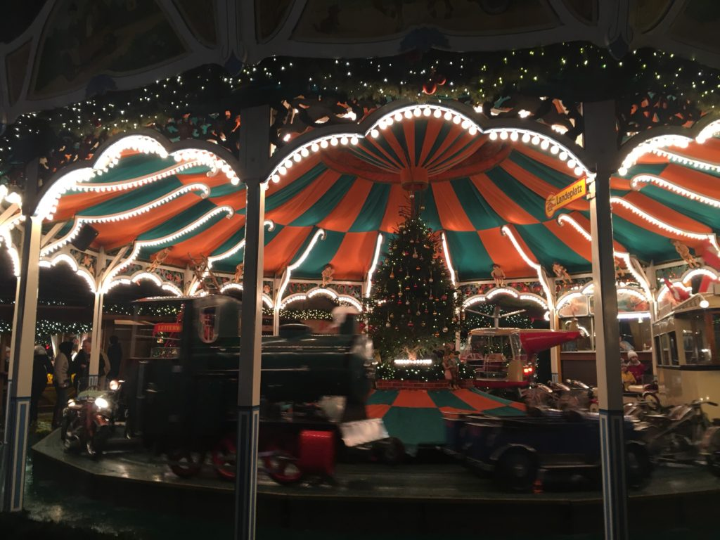 A merry go round at Christmas in Hamburg