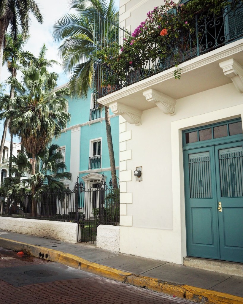 palm trees in the streets and a turquoise door