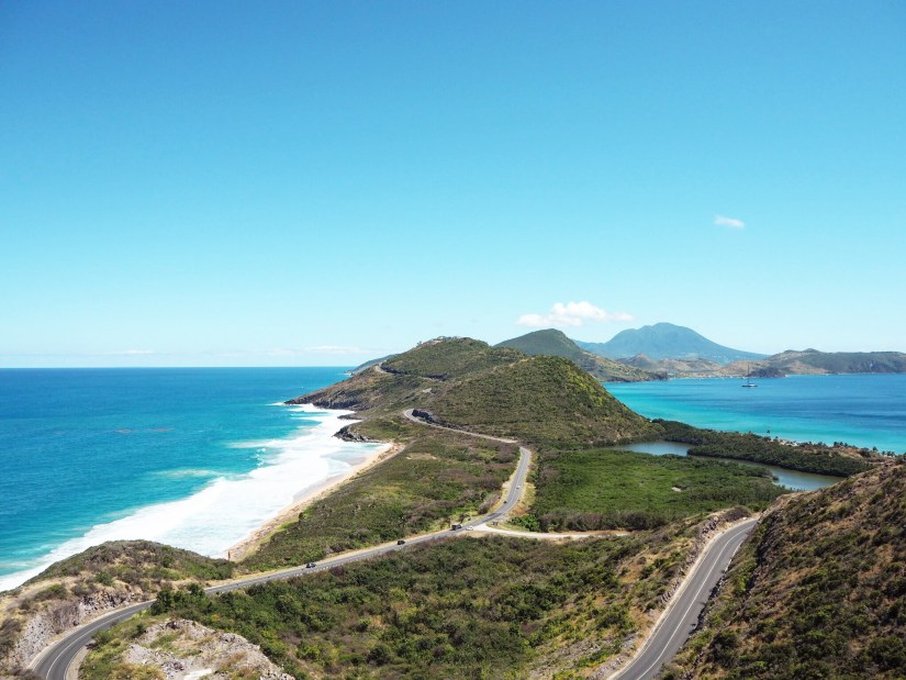 beaches in St Kitts, seen from Timothy Hill viewpoint