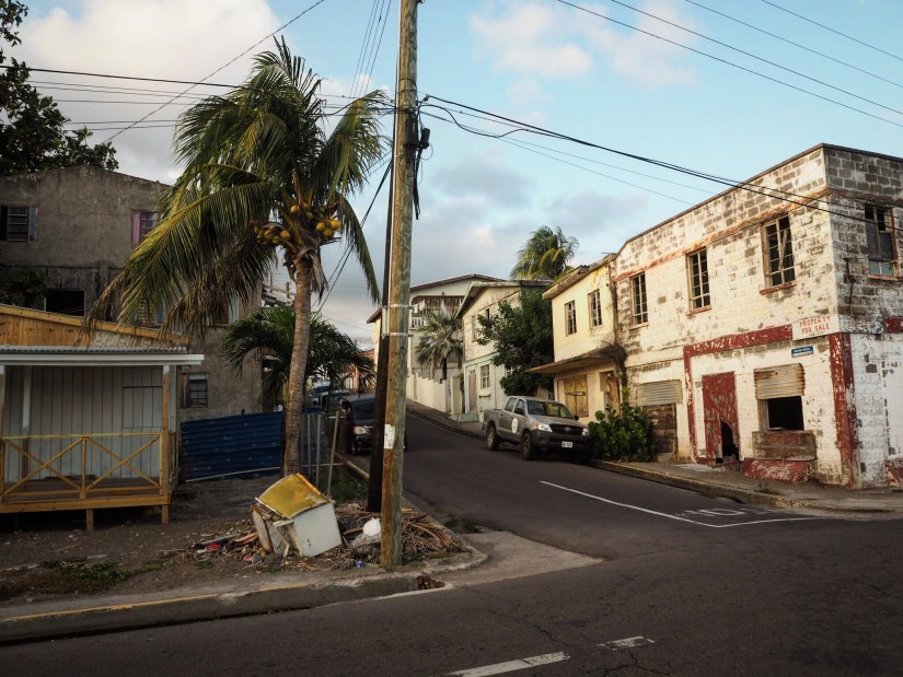 A street corner in Basseterre in St Kitts