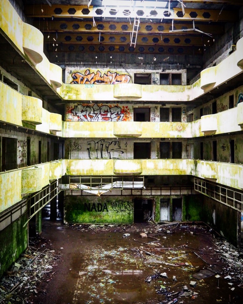 the lobby of the abandoned Monte Palace hotel in The Azores