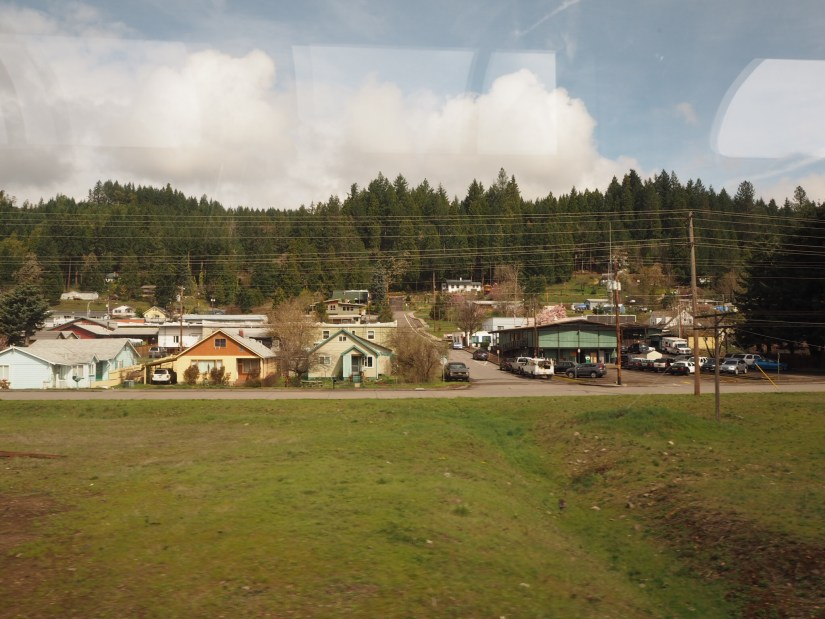 view of a small town in Oregon from the Coast Starlight
