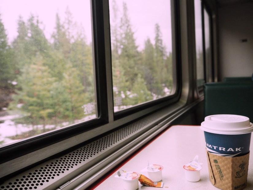 Amtrak coffee cup on the Coast Starlight through Oregon