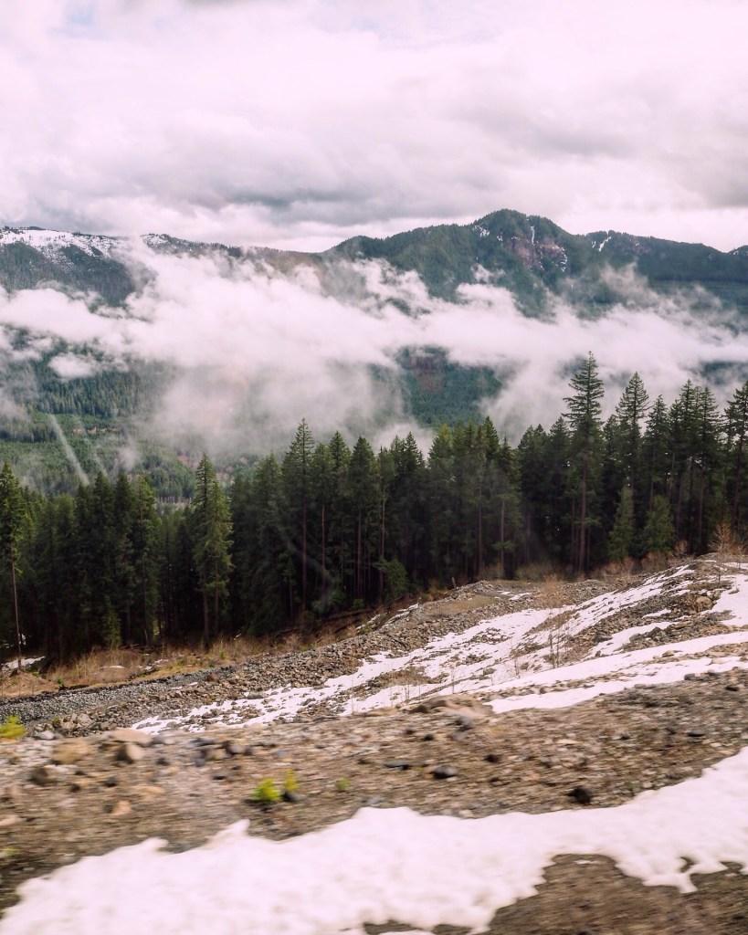 epic Oregon scenery on the Amtrak from Sacramento to Portland