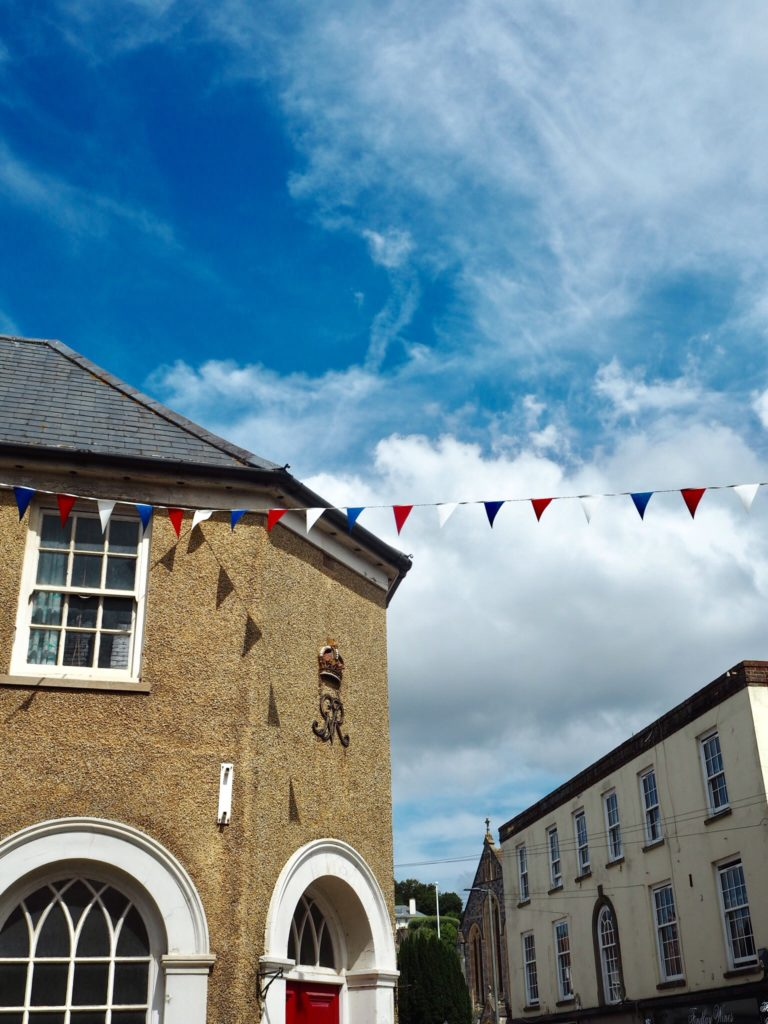 bunting in a village in South East Devon- South Devon things to do