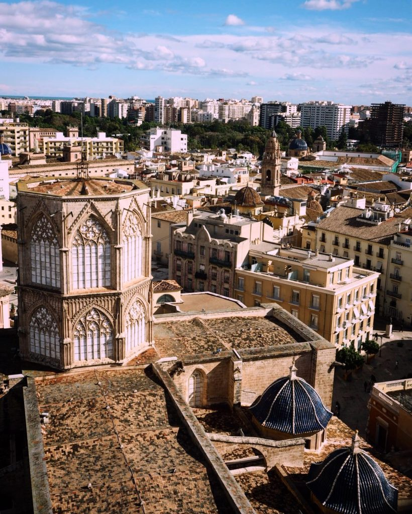 view of rooftops in valencia from the cathedral