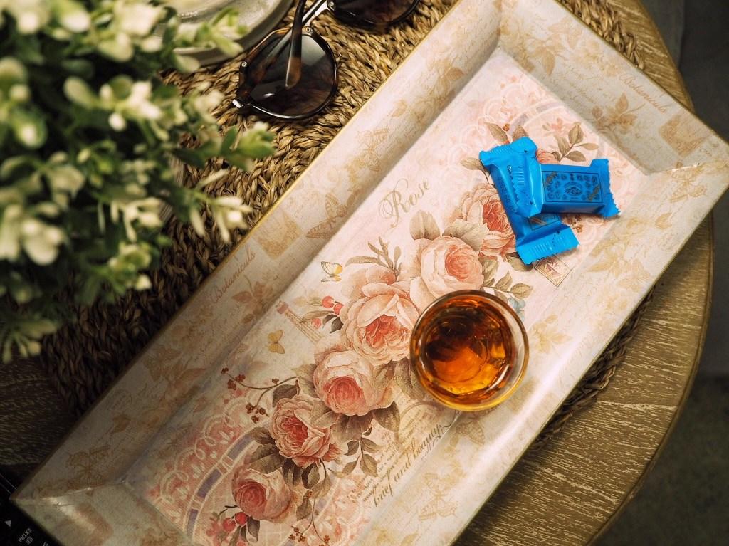 rose tray and greek spirits