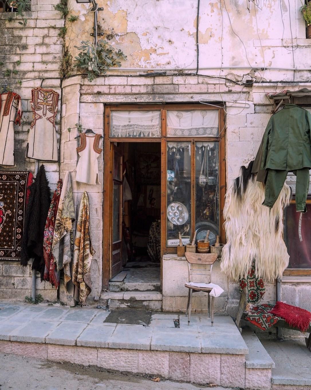 the doorway of a shop in Albania