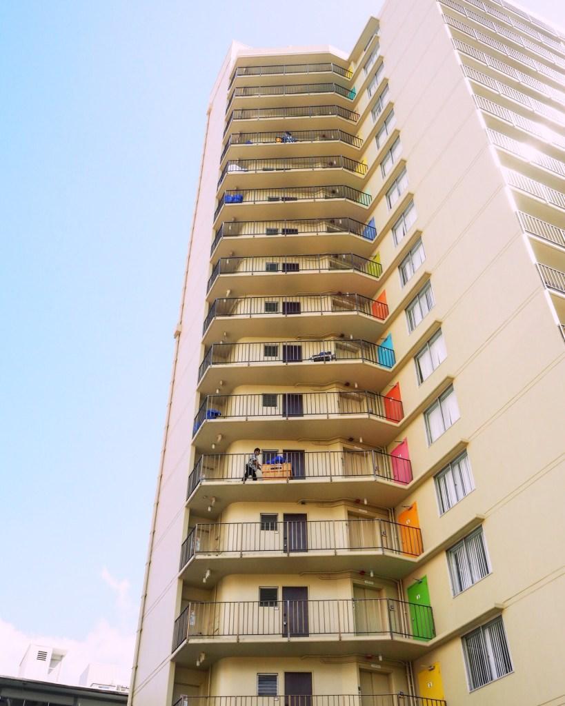 multicoloured retro apartment block