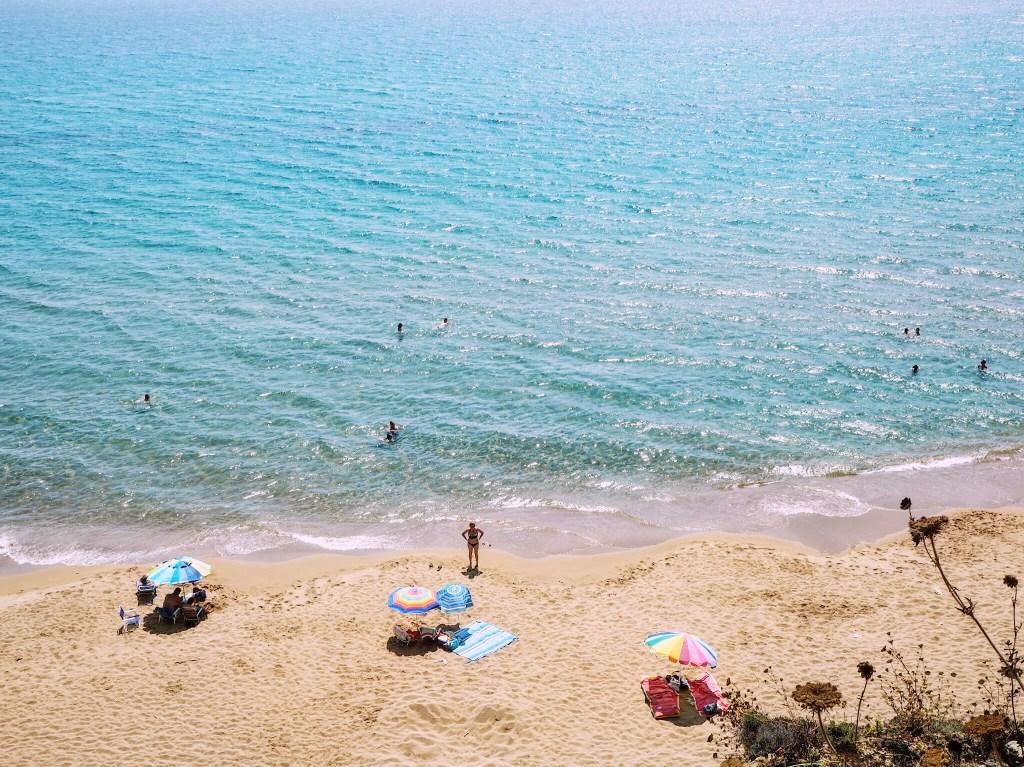 Birds eye view of a beach in Corfu, Greece