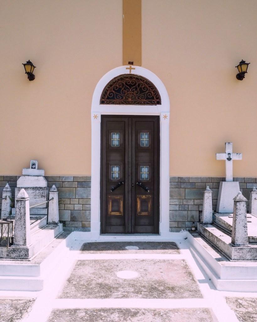 church door with gravestones