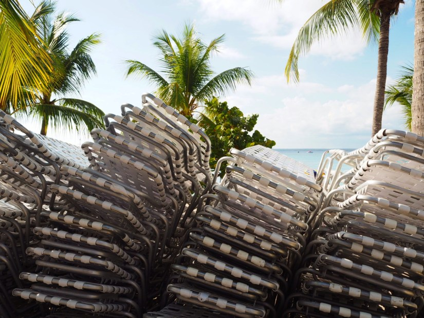 deck chairs on the beach at Catalina Island in the Dominican Republic