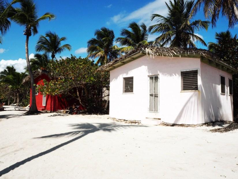 colourful beach huts on Isla Catalina