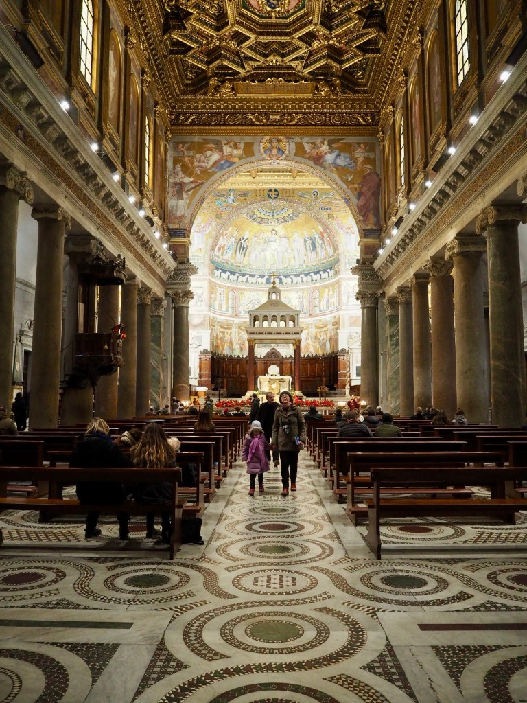 inside the basilica in Trastevere Rome