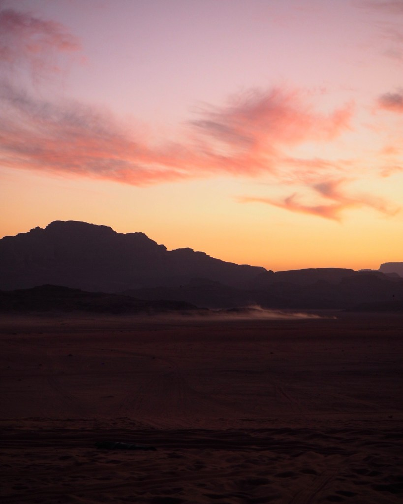 sunset over Wadi Rum on a jeep tour