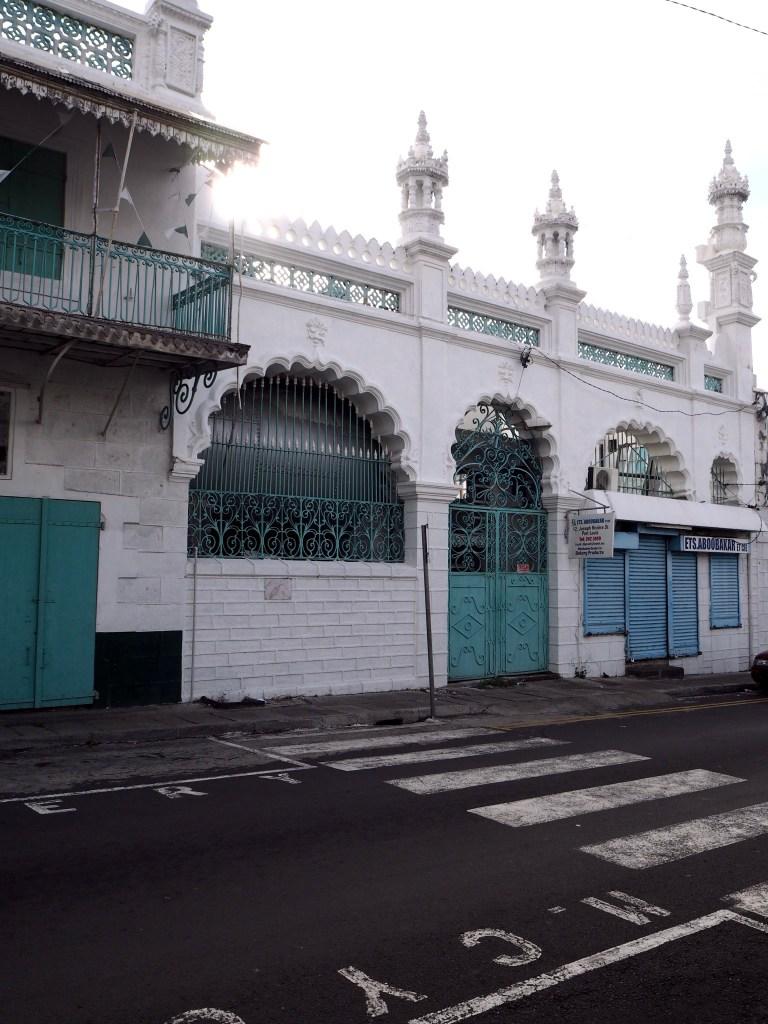 a zebra crossing by the Jummah mosque in Port Louis