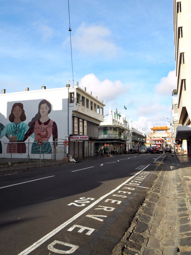 a street in Port Louis Chinatown