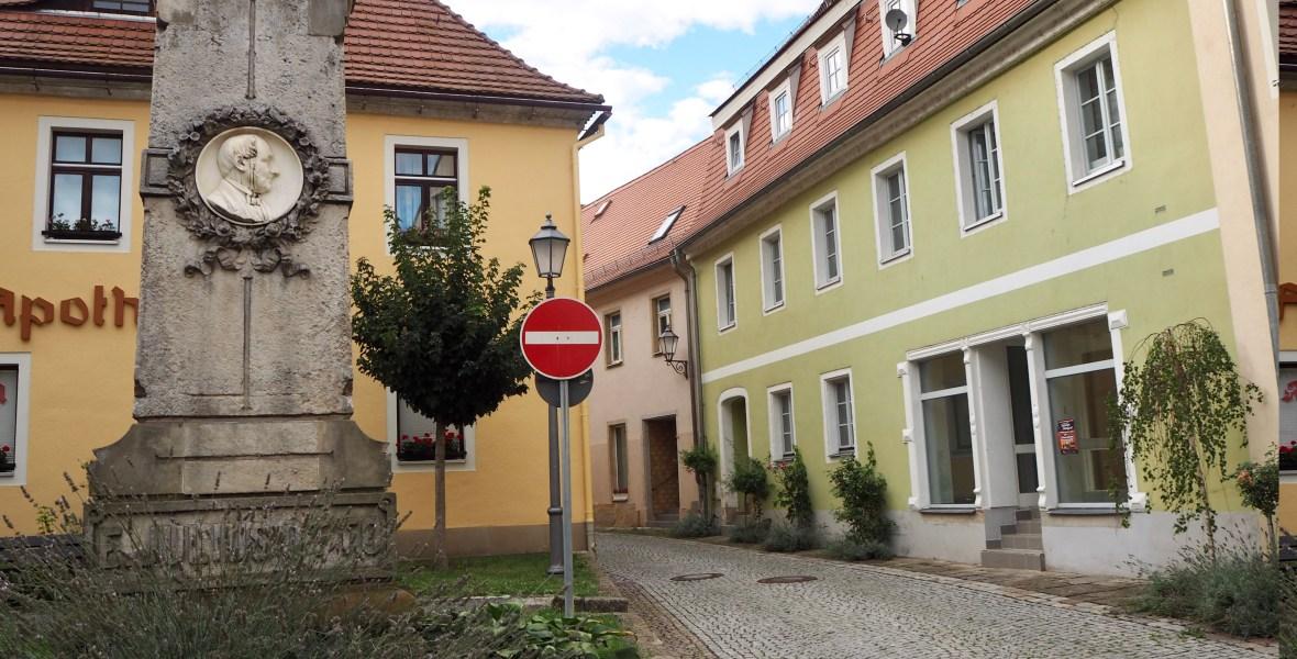 a brightly coloured street corner in Königstein