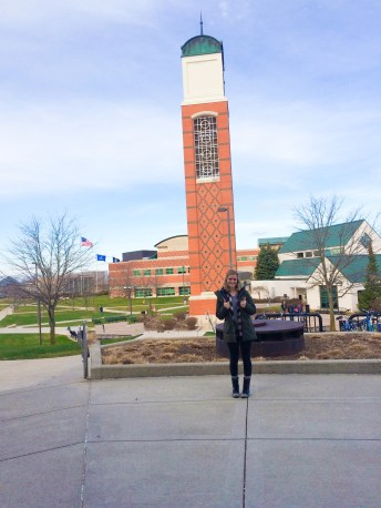 After; This is Grand Valley's Cook Carillon Tower. This is a GV icon because it is essentially the center of campus. It is one of Grand Valley's most widely known icons. It is frequently photographed and used in promoting and displaying Grand Valley's campus.