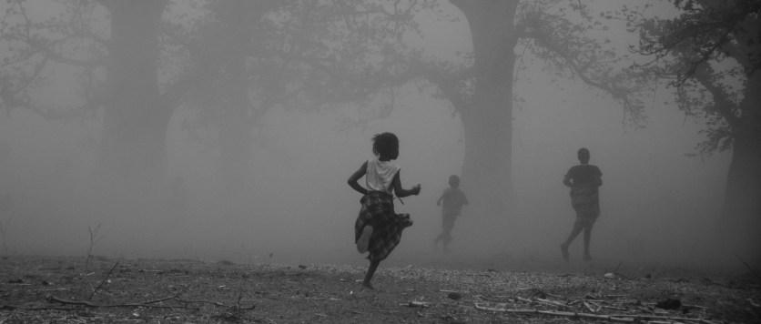 Running through a dust storm.