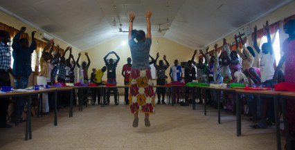 Cat Janda leads a training session at a Peace Corps bootcamp.