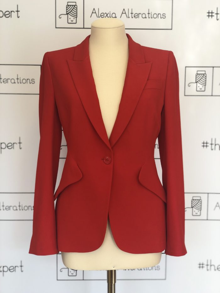 Alexander McQueen jacket altered by Alexia Alterations in London knightsbridge