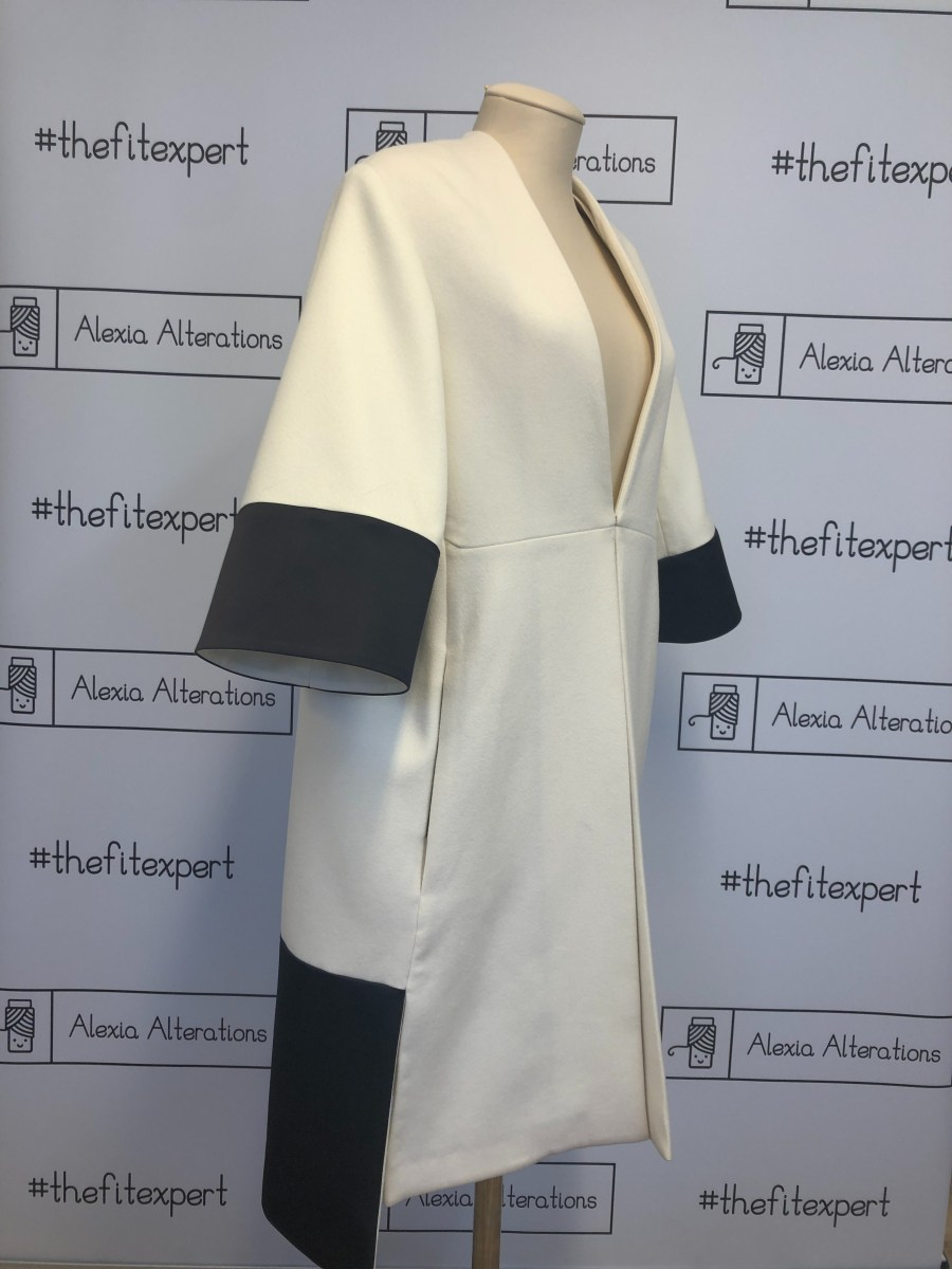 Christian Dior cape white cashmere and black satin label transformed