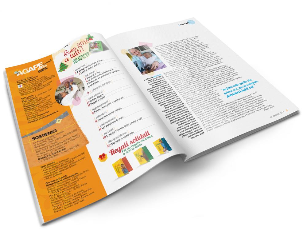 impaginazione grafica riviste pagine interne Agape