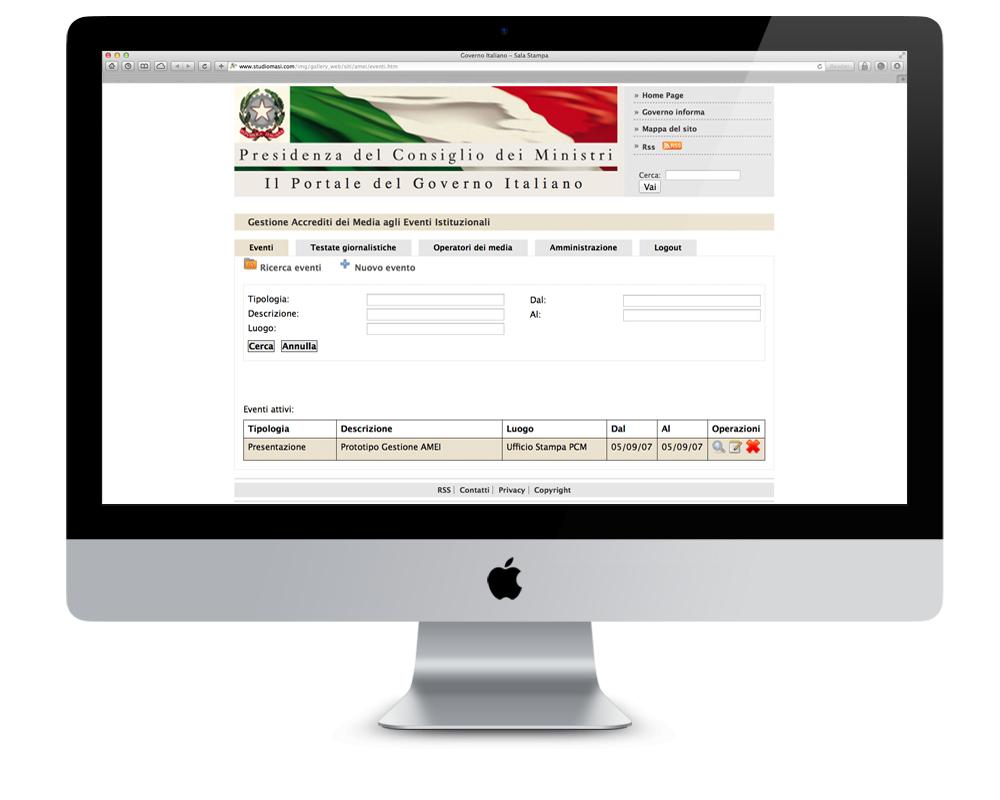 realizzazione siti roma presidenza consiglio