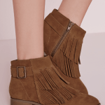 Missguided tassel tan ankle boots