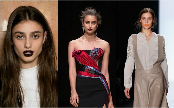 runway makeup looks, lips, red lips, orange lips, purple lips, coloured lips, trending, beauty trends