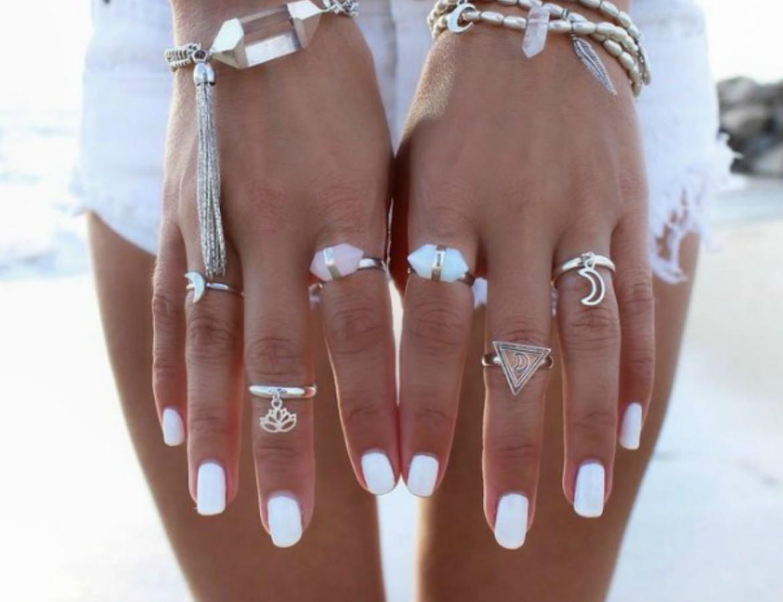 White nail polish on dark skin