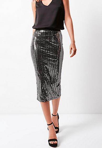 River Island Metallic Silver Pencil skirt £30