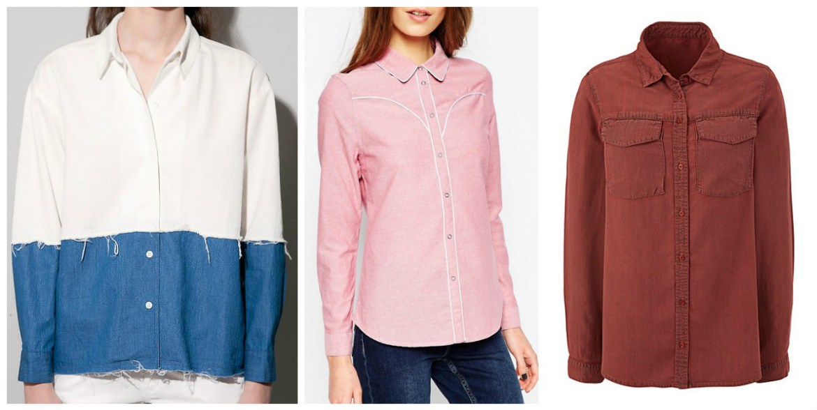 coloured denim shirts white denim-pink-chambray-red-denim