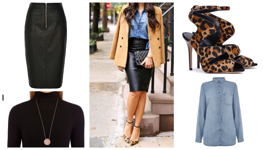 evening denim look denim shirt leather skirt shoes necklace