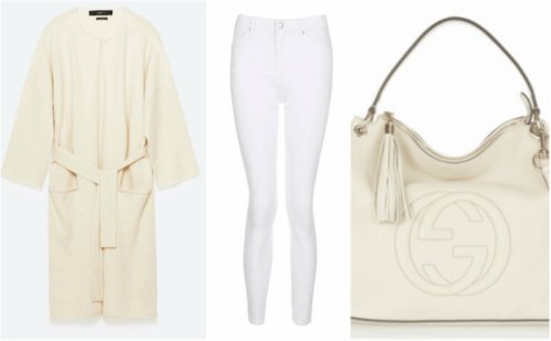 Outfit grid cream waterfall cardigan , white jeans and gucci bag. How to Wear white in winter