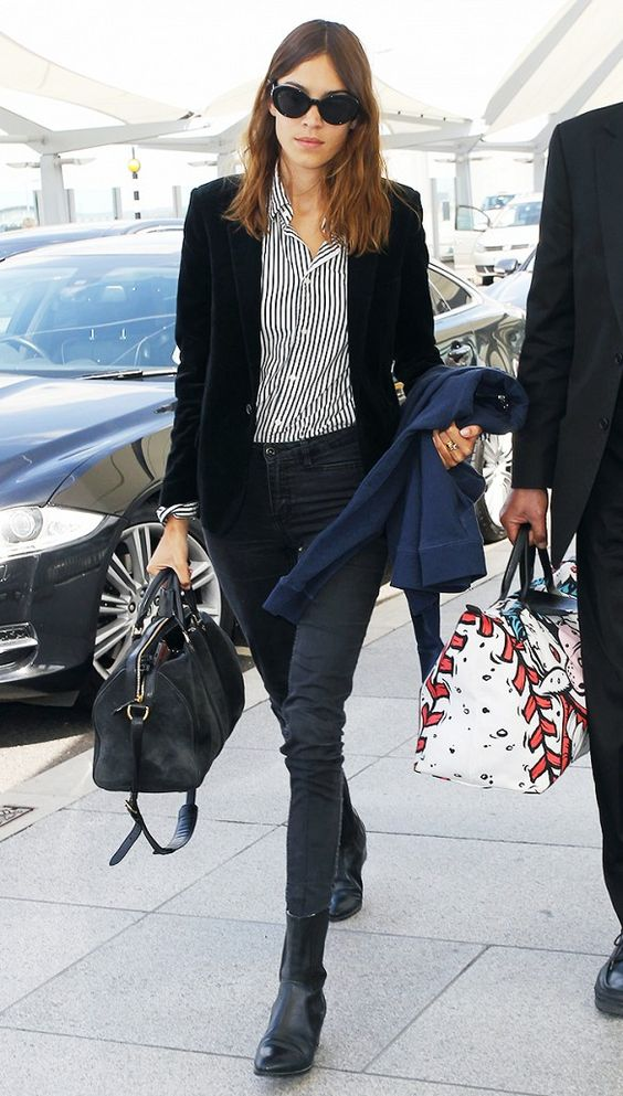 Alexa Chung Striped shirt, black jeans and blazer outfit