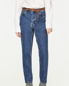 Zara Mom Fit Jeans With Belt